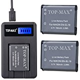 TOP_MAX 2_Pack EN_EL19 Replacement Batteries and USB Char...