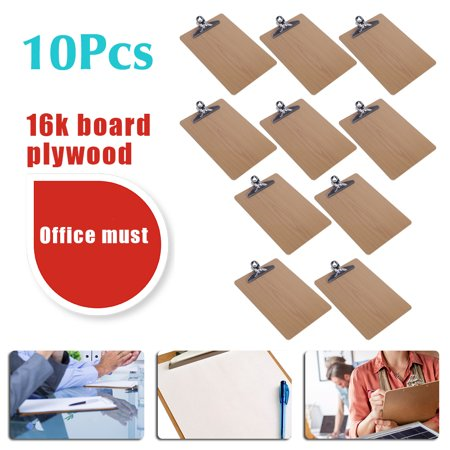 10Pcs Wooden 16K Clipboard Hardboard Menu Paper Holder Board With Chrome Clip Us