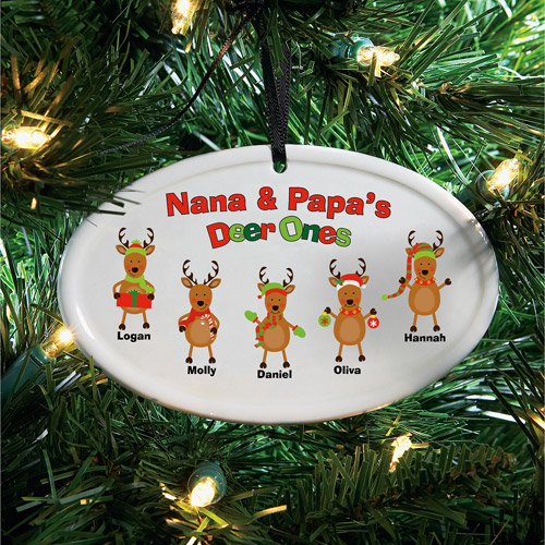 Personalized Deer Ones Ceramic Oval Ornament