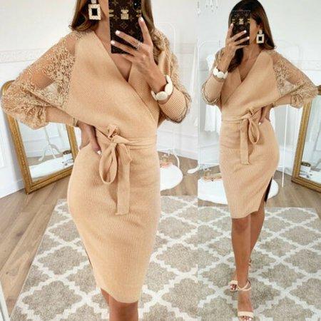 Women Bodycon V Neck Knit Tie Front Dress Ladies Party Evening Mini dress Front Knit Dress