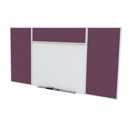 4 ft. x 10 ft. Style E Combination Unit - Porcelain Magnetic Whiteboard and Vinyl Fabric Tackboard - Berry