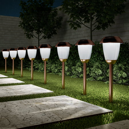 Solar Path Lights Set Of 8 16 Tall Stainless Steel Outdoor Stake Lighting For Garden Landscape Yard Driveway Walkway By Pure Copper