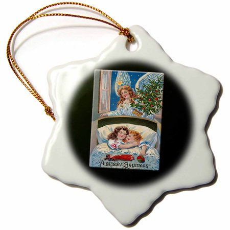 3dRose A Merry Christmas Children Asleep in Bed with an Angel Looking on with a Christmas Tree, Snowflake Ornament, Porcelain, 3-inch ()