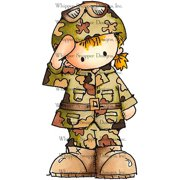 "Whipper Snapper Cling Stamp 4""X6""-Military Girl"