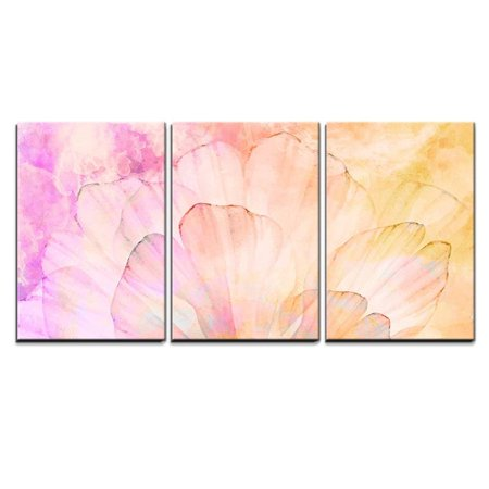 wall26 - 3 Piece Canvas Wall Art - Pink Petals of a Flower with Splattered Pink, Red, and Yellow Watercolor Paint - Modern Home Decor Stretched and Framed Ready to Hang - 16