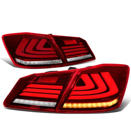 For 2013 to 2015 Honda Accord 4 -Door Sedan Sequential Turn Signal+3D LED Bar Tail Light / Lamp Red / Clear Lens (Porsche Tail Light Lens)