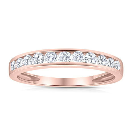 1/2ctw Diamond Channel Wedding Band in 10k Rose Gold Channel Diamond Wedding Band
