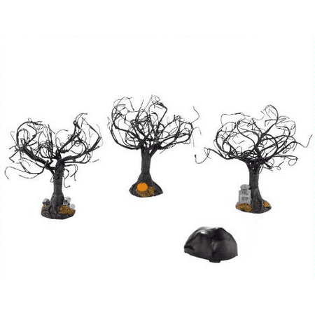 Department 56 Halloween Village Haunted Sounds Lighted Trees Set of 3](Haunted Tree Face)