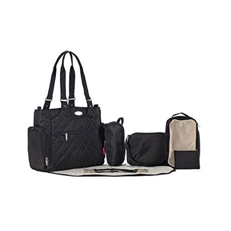 Collection Baby Diaper Stacker - SoHo Collection, Tribeca 9 pieces Diaper Tote Bag set *Limited time offer * (Black)