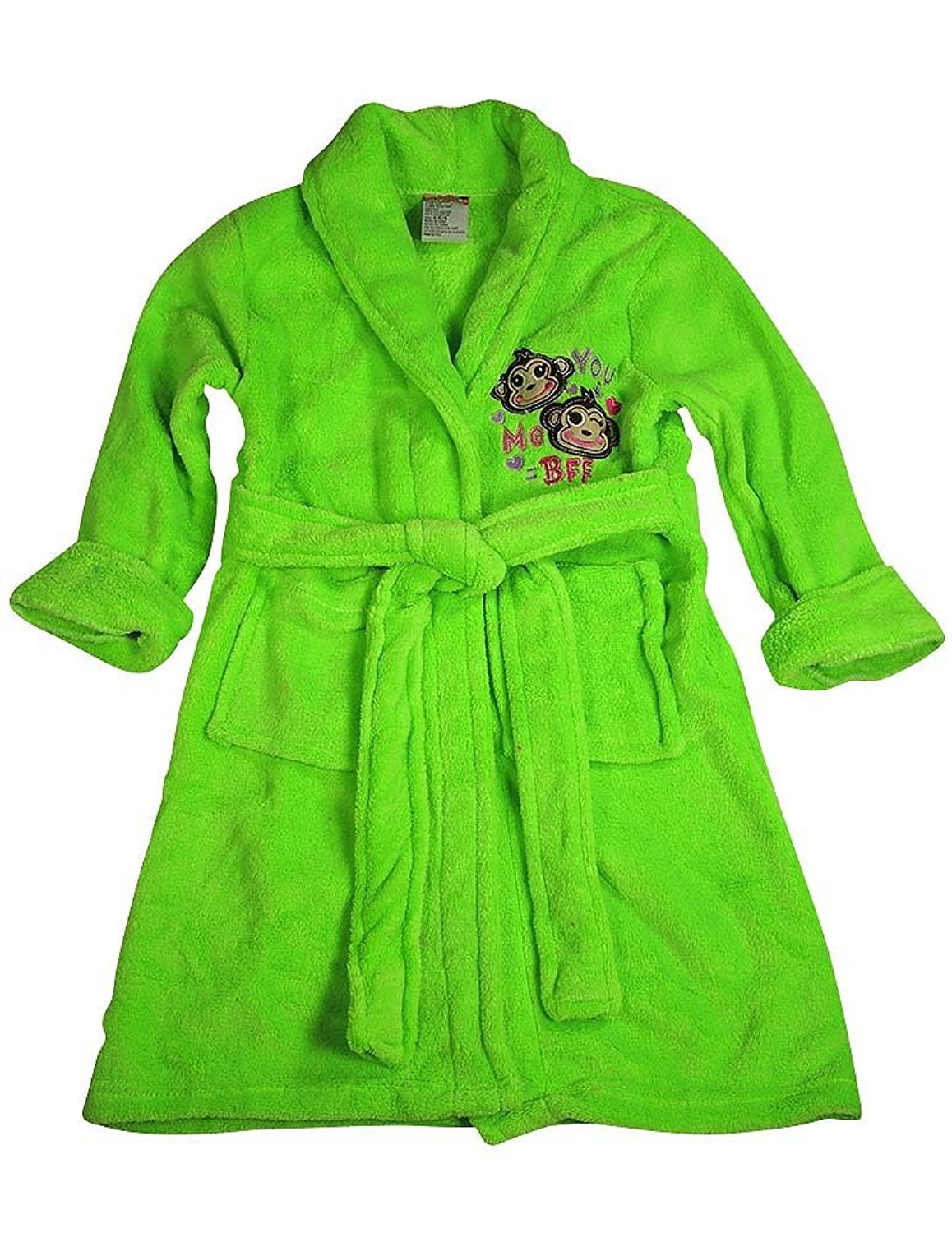 Sweet n Sassy - Little Girls Soft Plush Cozy Robe Neon Lime / 4-6Years