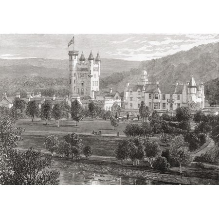 Balmoral Castle Aberdeenshire Scotland Seen From The River Dee From The Book Scottish Pictures Drawn With Pen And Pencil By Samuel G Green Published 1886 Canvas Art - Ken Welsh - Balmoral Glass