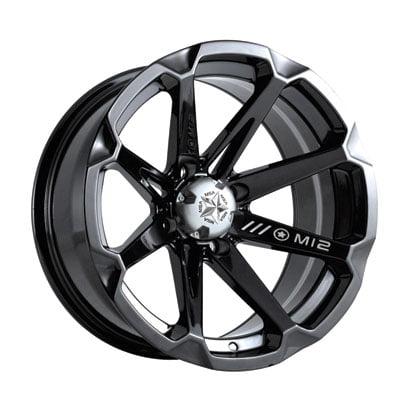 4/110 Motosport Alloys M12 Diesel Wheel 14x7 4.0 + 3.0 Black for Kawasaki BRUTE FORCE 750 4x4i 2005-2018