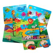 Eliiti Wooden Puzzles Set for Toddlers 2 to 4 Years Old - Vehicles, Dinosaurs, Insects, Safari, Sea Animals