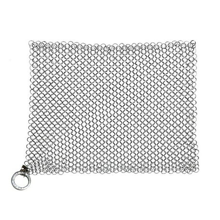 Cast Iron Skillet Cookware Scrubber Effective Durable Premium Stainless Steel Metal Chainmail Pan Pot Clean Tool