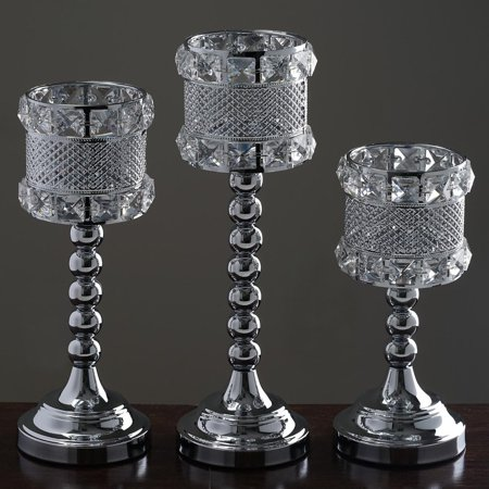 Efavormart Crystal Beaded Votive Candle Holder Wedding Chandelier Centerpiece - Set of 3pcs