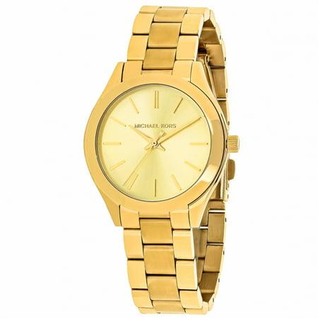 fa20ddda8616 Michael Kors - Michael Kors Women s Mini Slim Runway Gold-tone Three-Hand  Watch MK3512 - Walmart.com