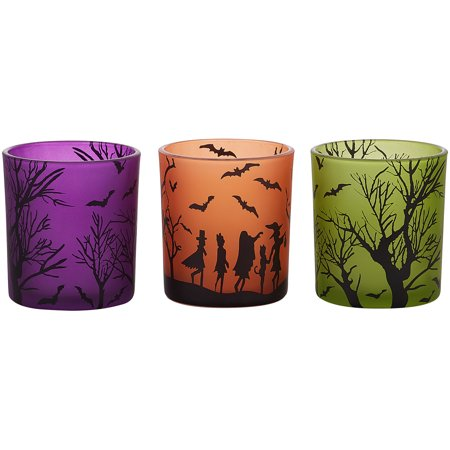 Pavilion - Halloween Themed Set of 3 Glass Tealight Candle Holders, 3 (Two's Company Halloween Candles)