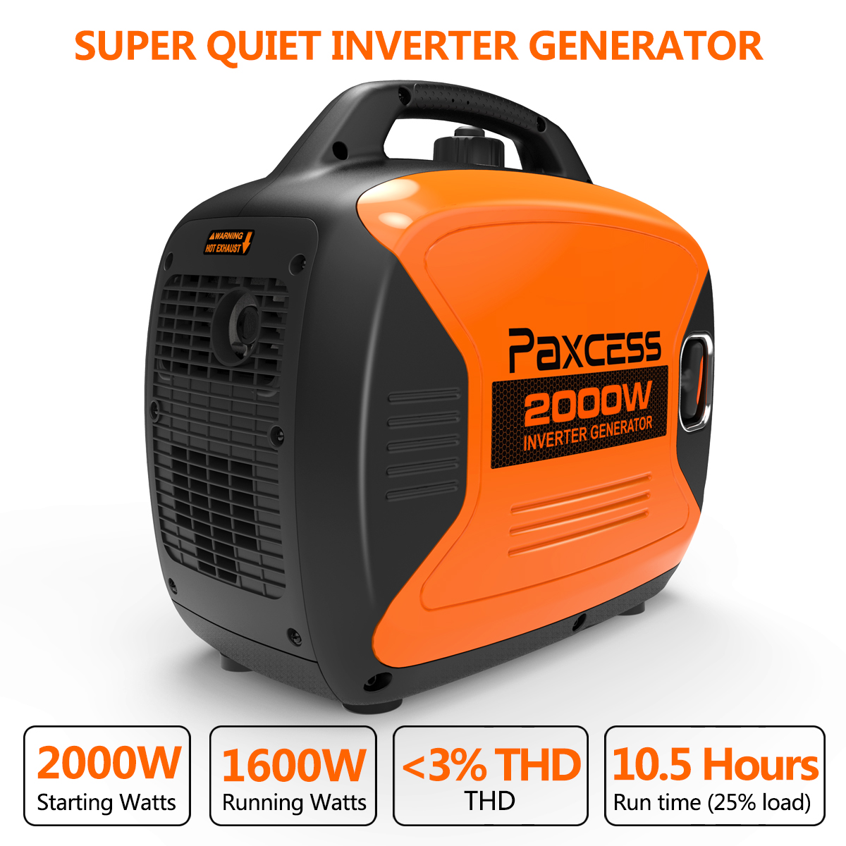 Paxcess 2000 Watts Portable Generator RV Ready With Parallel Capability, Eco-Mode, CARB Complaint, 120V 30A/20A AC Outlet/USB/Cigarette Ports/12V DC Output