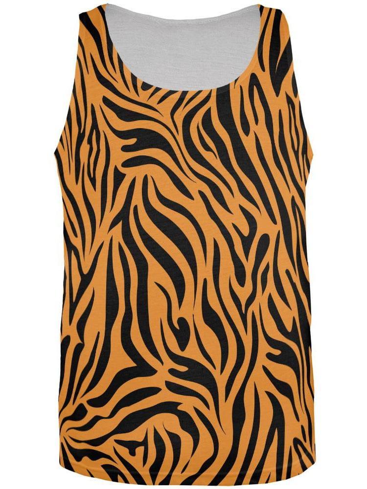Zebra Print Sublimated Orange All Over Adult Tank Top