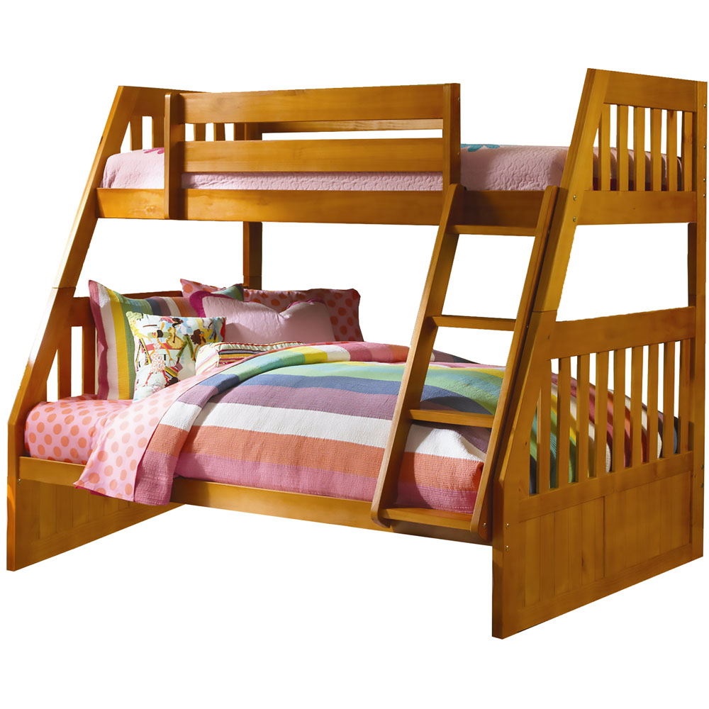 Cambridge Stanford Twin-Over-Full Bunk Bed in Honey Pine