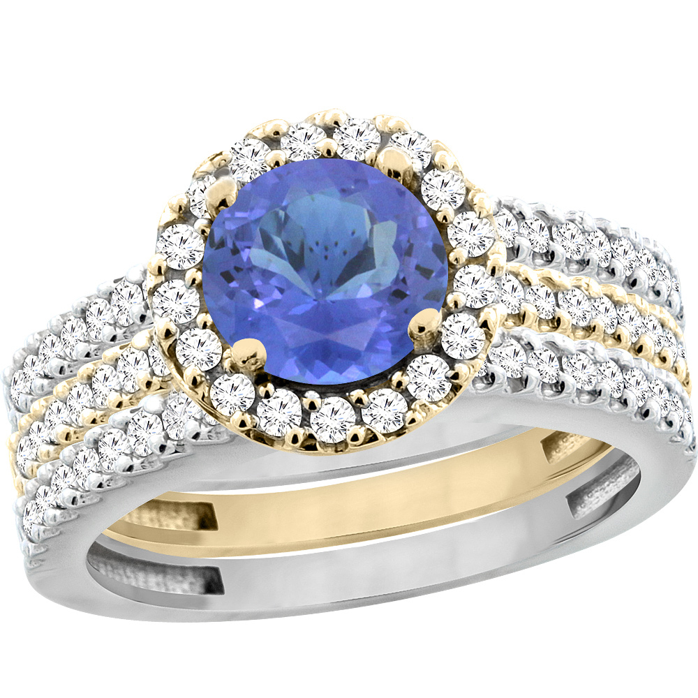 14K Gold Natural Tanzanite 3-Piece Ring Set Two-tone Round 6mm Halo Diamond, size 5.5 by Gabriella Gold