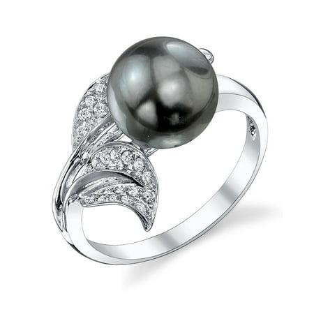 9mm Tahitian South Sea Cultured Pearl & Diamond Eva Ring in 18K Gold 18k Tahitian Pearl Ring