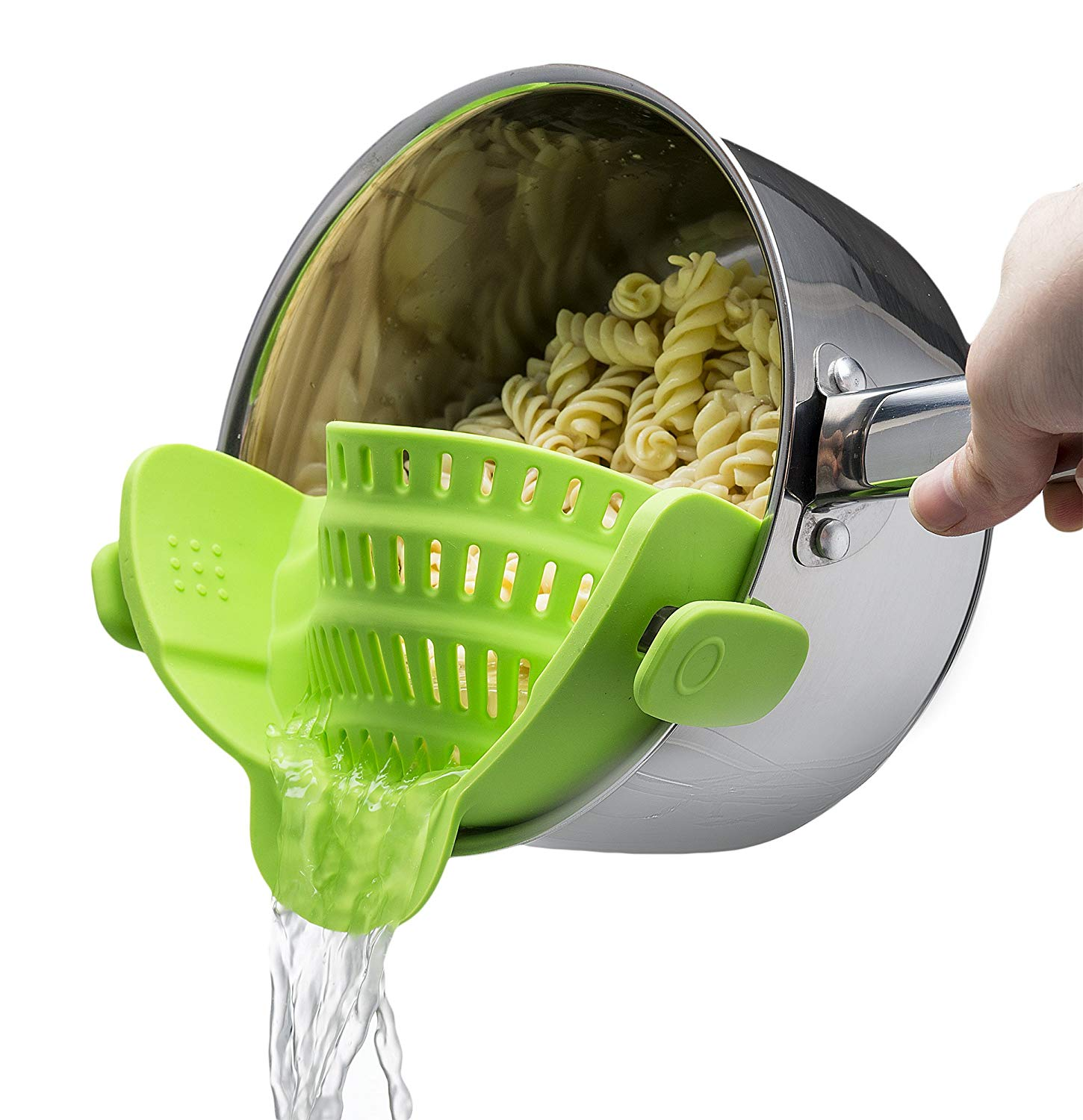 Silicone Clip-on Strainer Colander, Coolmade Hands-Free Heat Resistant Drainer Filter for Pot Bowl Pan Pasta Spaghetti Vegetable, Fits all Pots and Bowls - Lime Green