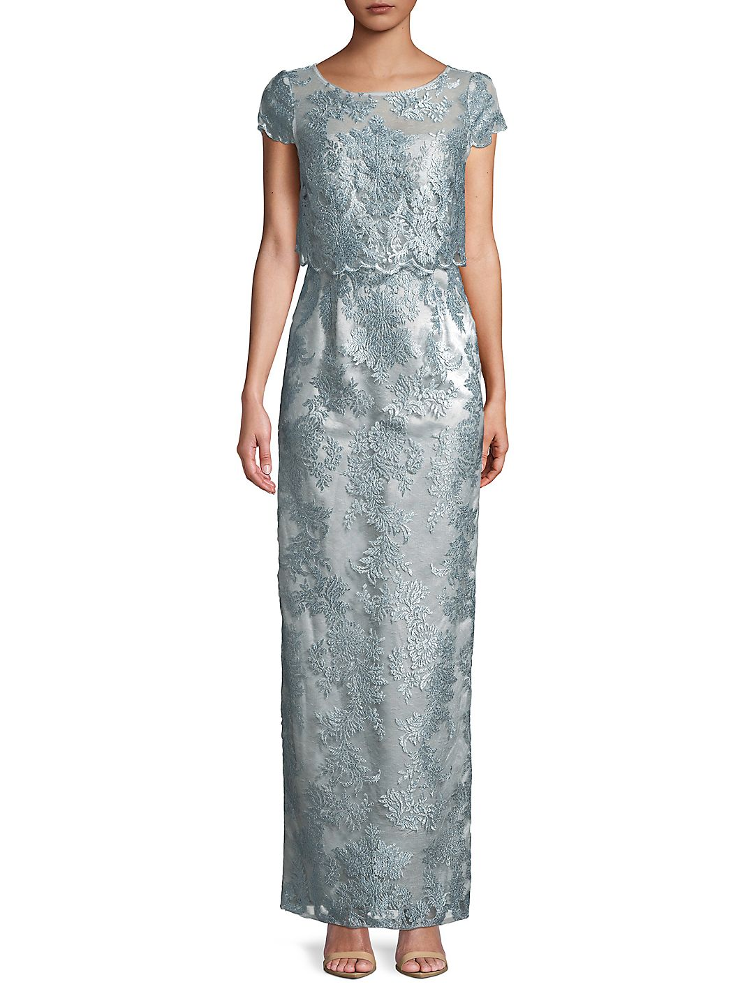 Adrianna Papell Womens Lace Popover Evening Dress
