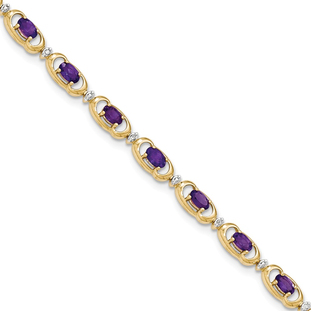 14K Yellow Gold (0.05cttw) Diamond and Purple  Amethyst Bracelet -7""