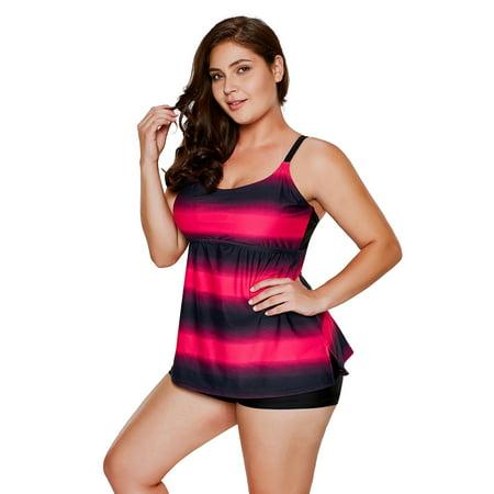HDE Women's Striped Tankini 2 Piece Set Adjustable Strap Swimsuit w/Boyshorts