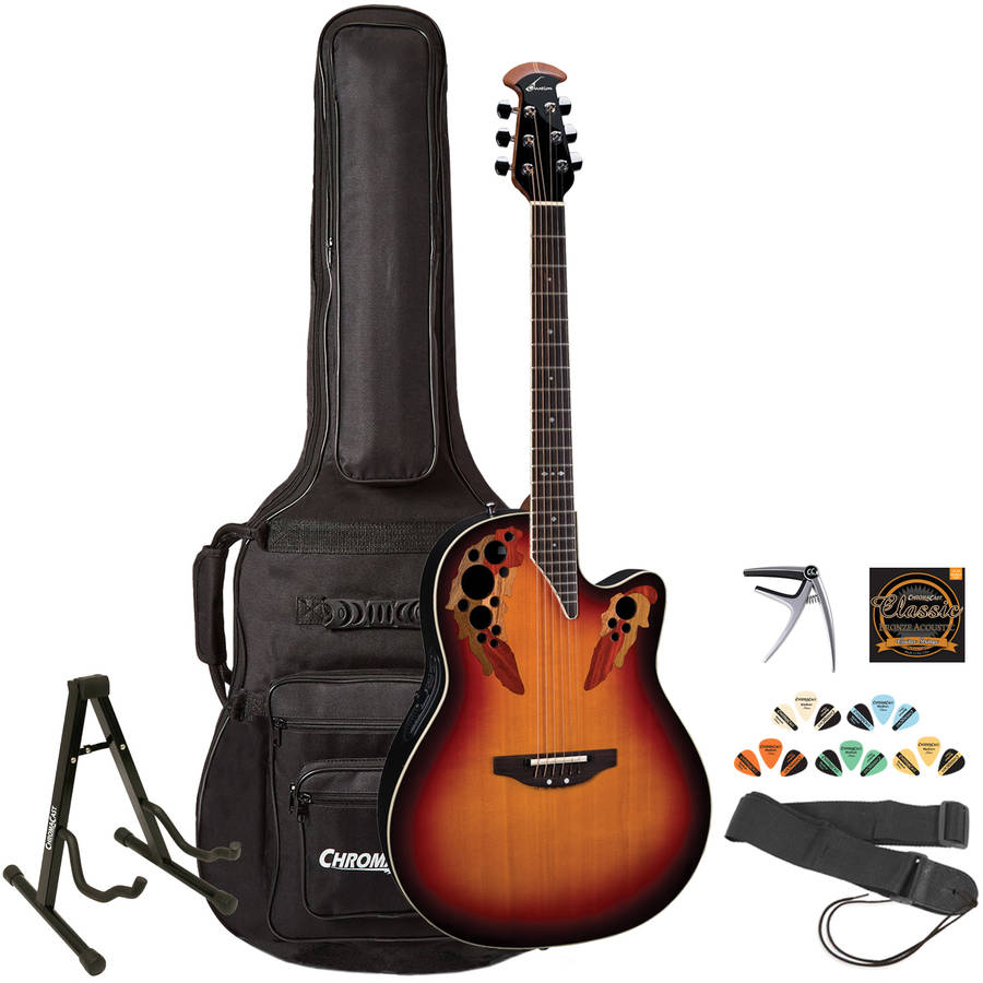 Ovation 2778AX-NEB Acoustic-Electric Guitar with ChromaCast Gig Bag and Accessories