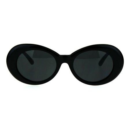 78a1c4e946d9 SA106 - Womens Thick Plastic Mod Oval Shaggy Retro Fashion Sunglasses All  Black - Walmart.com