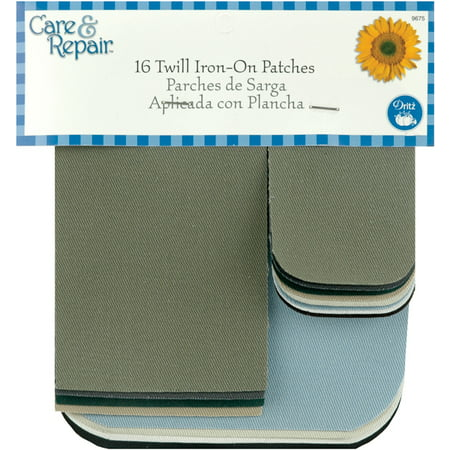 Dritz Care & Repair Twill Iron-On Patches 16/Pkg-Assorted Sizes & Colors (Patch Colts)