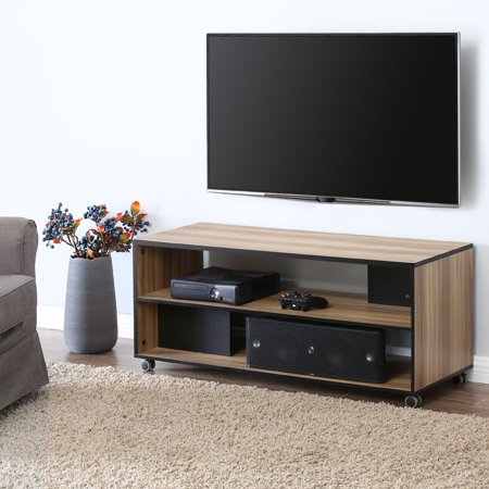 fitueyes wood tv stand storage console with wheels for 23 32 39 40 42 43 49 50 inch tv oak. Black Bedroom Furniture Sets. Home Design Ideas
