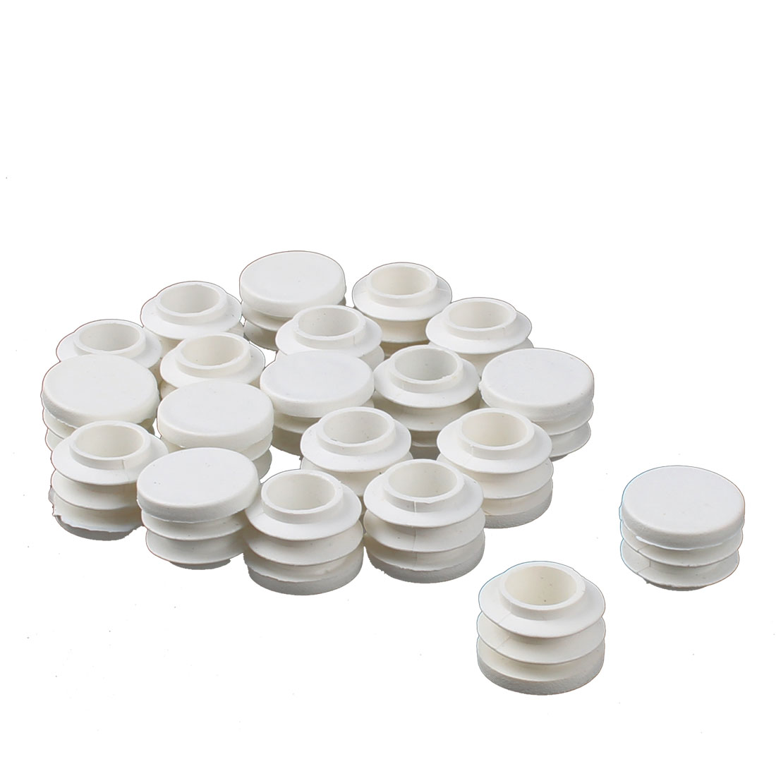 Table Chair Plastic Round Tube Pipe Insert Cover Protector White 19mm Dia 10pcs - image 1 de 1