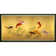 """Oriental Furniture Seven Lucky Fish Canvas Wall Art, Printed on canvas, wall décor, living room item, 35.25""""W x17.75""""H"""