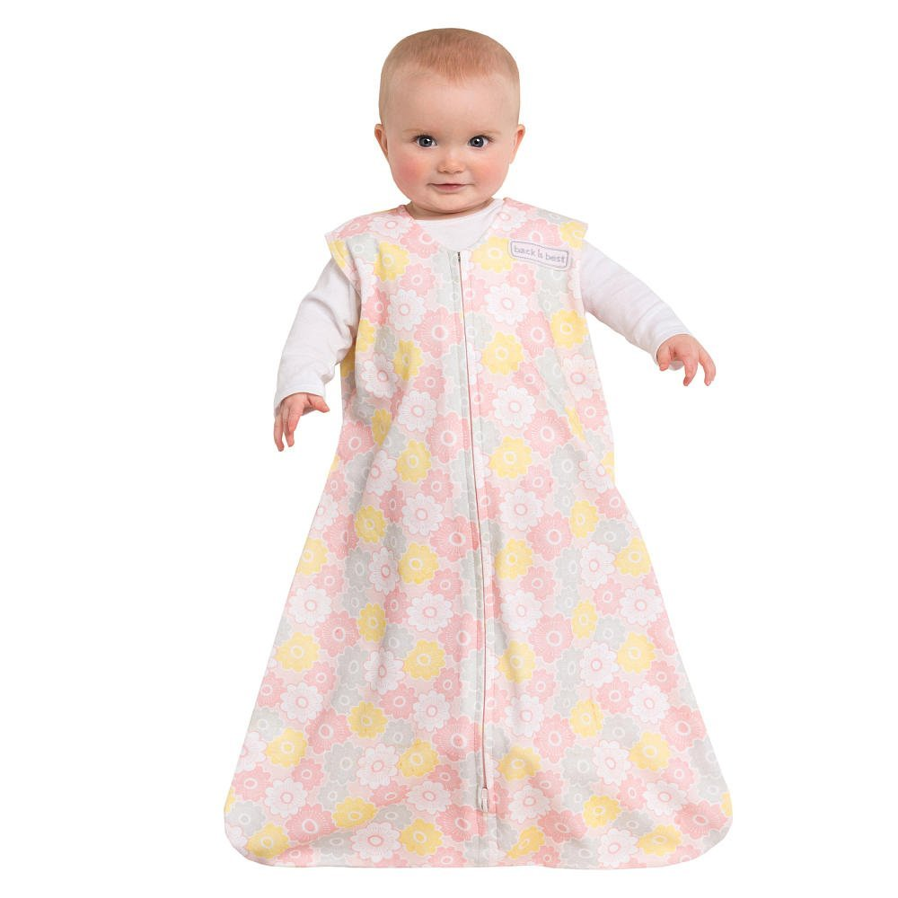 SleepSack Wearable Blanket Cotton Grey/Pink Flowers Large, By Halo Ship from US