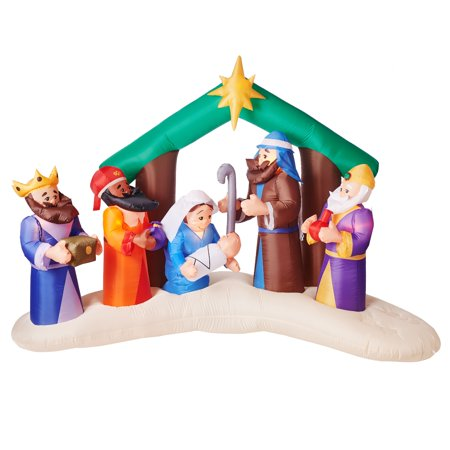 Gemmy Industries Airblown Inflatable Nativity Scene, 8'