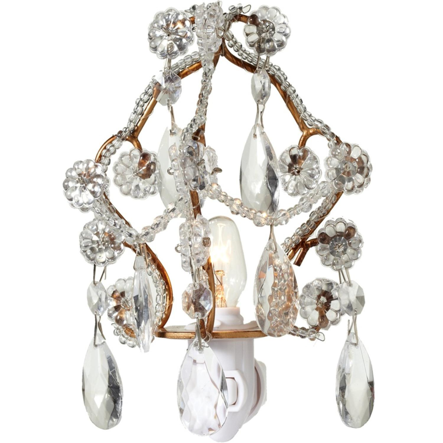 """Set of 2 Gold and Silver Decorative Chandelier Night Light 5"""""""