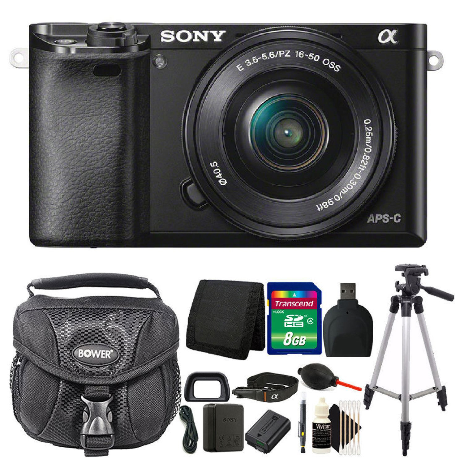 Sony Alpha A6000 24.3MP Mirrorless Digital Camera Full HD 1080p Wifi Enabled with 16-50mm + All You Need Accessory Bundle