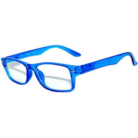 Narrow Retro Fashion Style Rectangular Blue Frame Clear Lens (Owl Eyeglasses)
