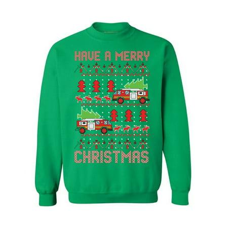 Awkward Styles Christmas Fire Truck Sweatshirt Firefighter Ugly Christmas Sweater Superhero Xmas Sweatshirt Fire Truck Christmas Sweater Funny Xmas Gifts for Firefighters Fire Truck Pulled By Reindeer](Superhero Gifts)