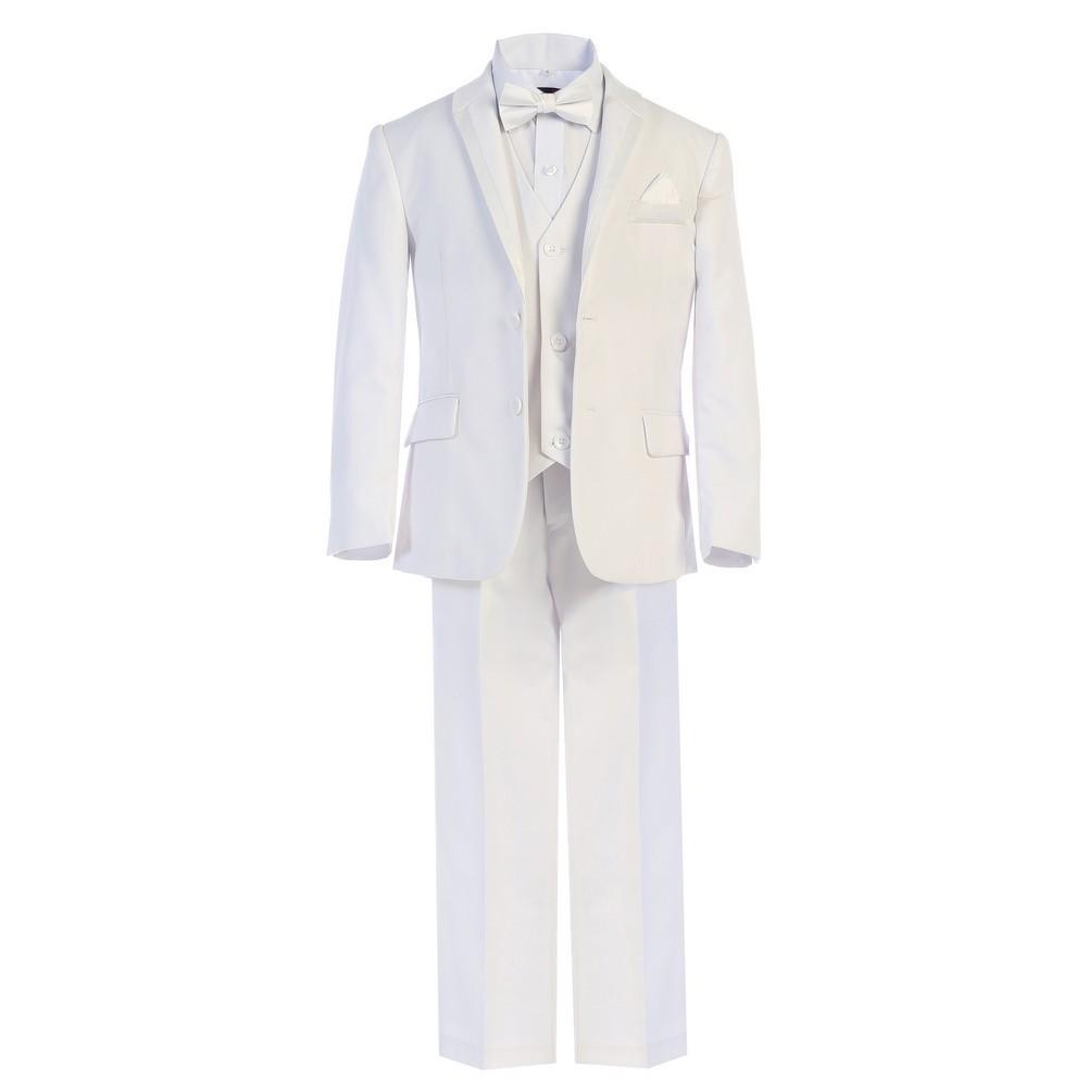 Boys White Bow-Tie Vest 5 Pcs Wedding Special Occasion Tuxedo Suit