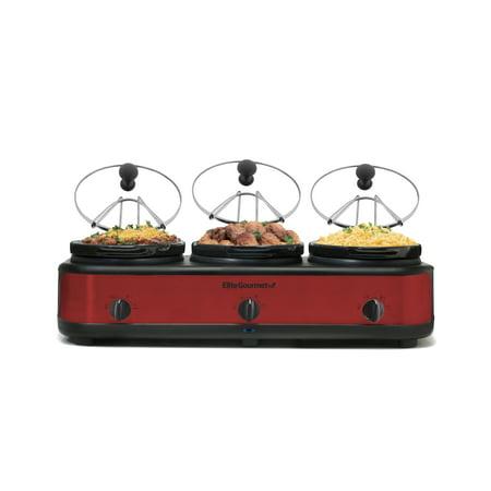 Elite Gourmet EWMST-325R 2.5-Quart Triple Slow Cooker Buffet with lid rest, Red