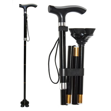 RMS Folding Cane with Quad Base - Foldable and Collapsible Quad Cane - Lightweight Aluminum Offset Cane - Adjustable Walking Stick with Wrist Strap and Ergonomic Derby Handle (Adjustable Aluminum Quad Cane)