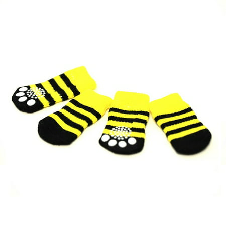 Bumblebee Color Anti-Slip Dog Socks Size S Clean Comfy Paws Pets Cat Puppy 4pcs