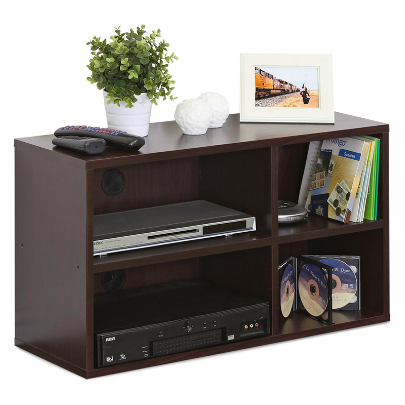 Furinno Indo Petite Audio Video Storage Shelf, Espresso