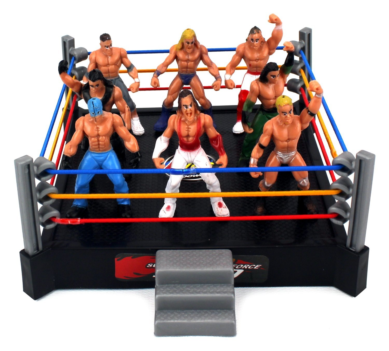 VT Mini Combat Action Wrestling Toy Figure Play Set w/ Ring, 8 Toy Figures