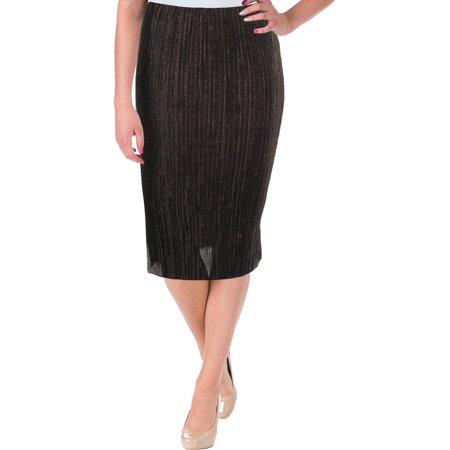 Design Lab Womens Pleated Knee Length Pencil Skirt Check Pleated Skirt