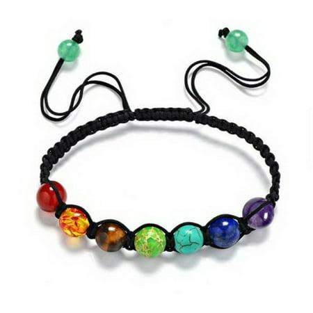 7 Chakra Healing Yoga Reiki Prayer Stones Balance Beaded Bracelet Braided